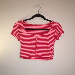 red and white striped crop top with zipper